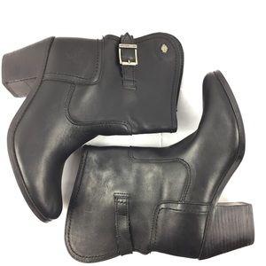 Harley Davison Black Leather Heeled Boots Sz 6